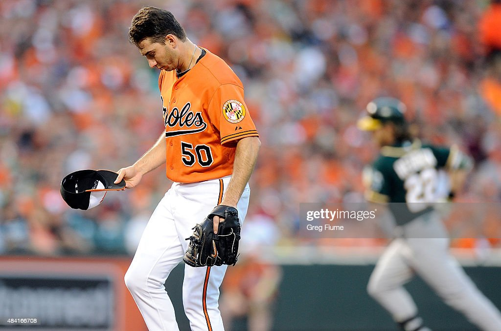 Miguel Gonzalez #50 of the Baltimore Orioles reacts after giving up a home run in the third inning to Josh Reddick #22 of the Oakland Athletics at Oriole Park at Camden Yards on August 15, 2015 in Baltimore, Maryland.