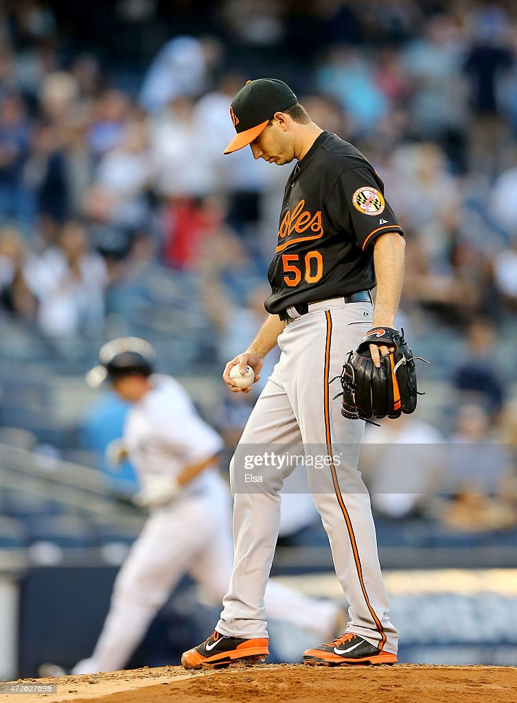Miguel Gonzalez #50 of the Baltimore Orioles reacts after giving up a two run homer to Brian McCann #34 of the New York Yankees in the first inning on May 8, 2015 at Yankee Stadium in the Bronx borough of New York City.