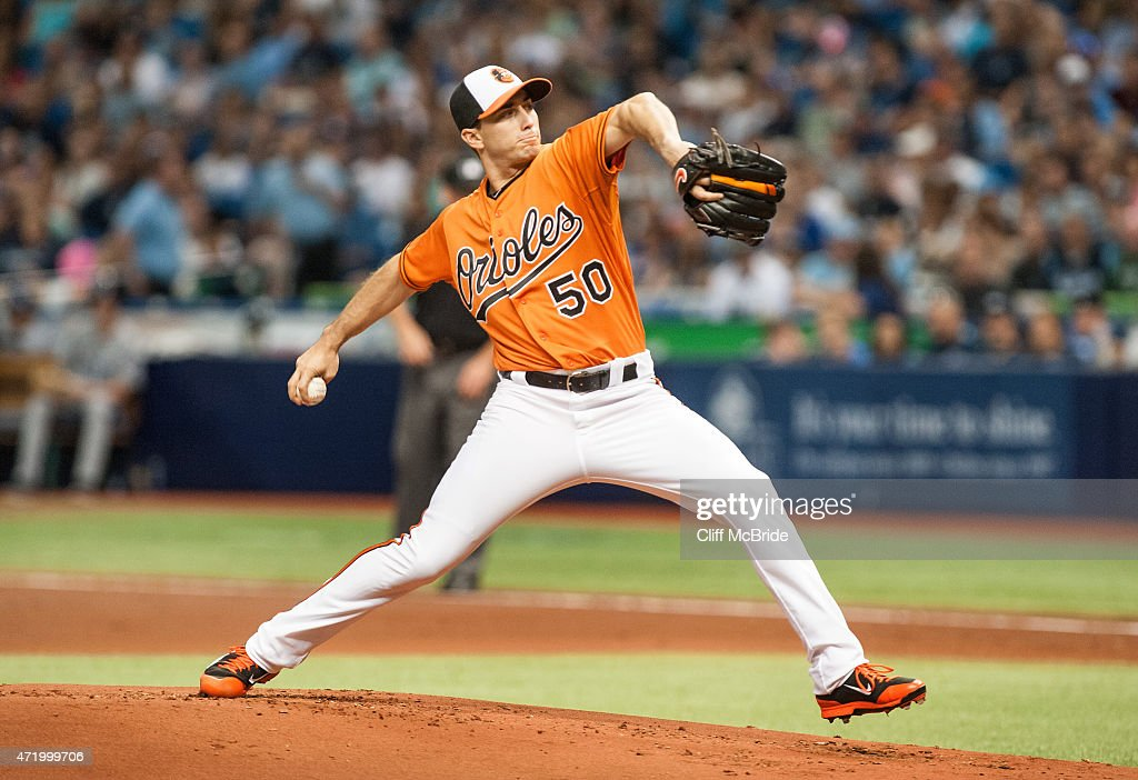 Miguel Gonzalez #50 of the Baltimore Orioles throws a pitch against the Tampa Bay Rays in the second inning on May 2, 2015 at Tropicana Field in St. Petersburg, Florida. The three-game series was moved to Tropicana Field due to the civil unrest in Baltimore after the arrest and death of Freddie Gray. The Baltimore Orioles were designated the home team for the series.