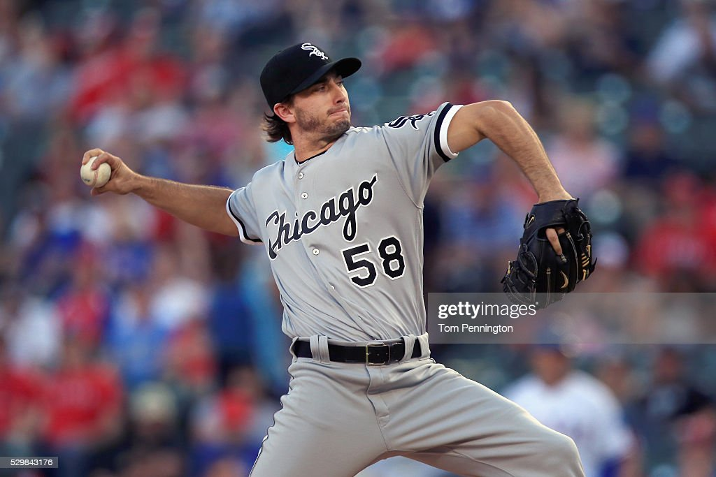 Miguel Gonzalez #58 of the Chicago White Sox pitches against the Texas Rangers in the bottom of the first inning at Globe Life Park in Arlington on May 9, 2016 in Arlington, Texas.