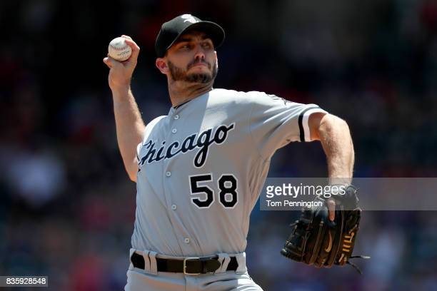 Miguel Gonzalez of the Chicago White Sox pitches against the Texas Rangers in the bottom of the first inning at Globe Life Park in Arlington on...