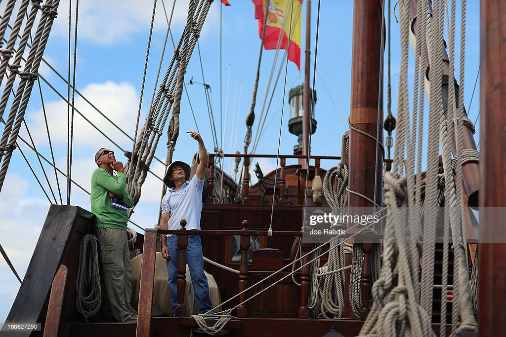 Miguel Hernandez and Edgar Zuniga explore El Galeón, a replica of a 16th century galleon, during Florida's commemoration of the 500th anniversary of Spanish explorer Juan Ponce de Leon's arrival on the shores of Florida on April 17, 2013 in Miami, Florida. The boat will remain in Miami until April 28, after which it continues North along Florida's east coast and stops along the way in Fort Lauderdale, Cape Canaveral, and St. Augustine.
