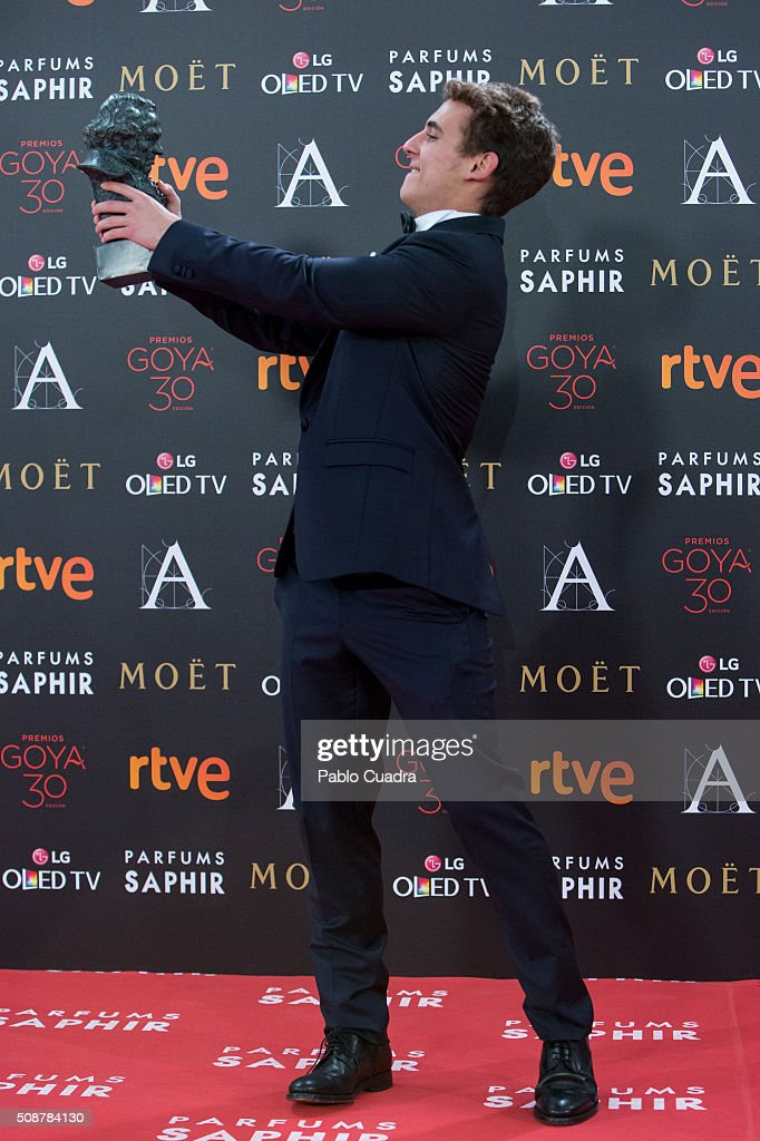 Miguel Herran holds the award for best new actor during the 30th edition of the Goya Cinema Awards at Madrid Marriott Auditorium on February 6, 2016 in Madrid, Spain.