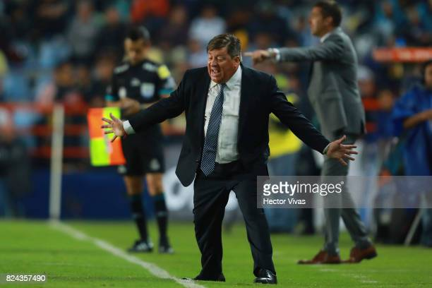 Miguel Herrera coach of America gestures during the 2nd round match between Pachuca and America as part of the Torneo Apertura 2017 Liga MX at...