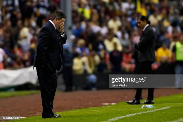 Miguel Herrera coach of America gestures during the 3rd round match between America and Pumas UNAM as part of the Torneo Apertura 2017 Liga MX at...