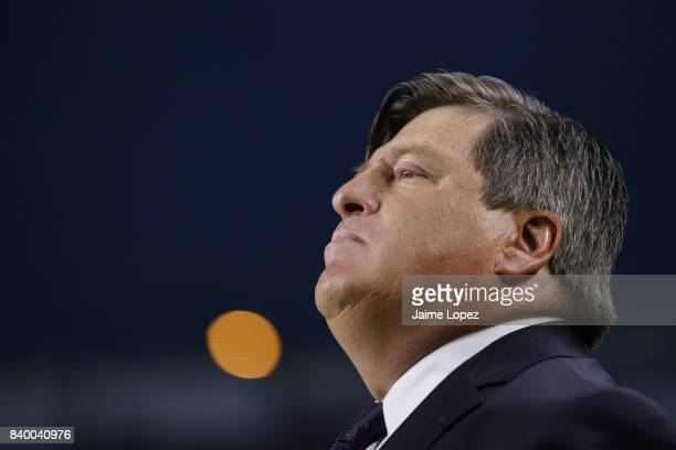 Miguel Herrera coach of America looks on prior the seventh round match between Morelia and America as part of the Torneo Apertura 2017 Liga MX at...