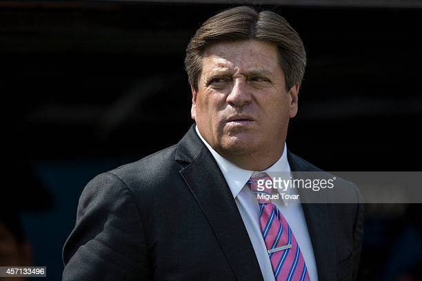 Miguel Herrera coach of Mexico looks on during a friendly match between Mexico and Panama at Corregidora Stadium on October 12 2014 in Queretaro...