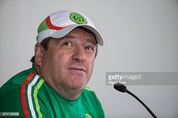 Miguel Herrera coach of Mexico looks on during a press conference after a National Team training session at CAR on May 20 2015 in Mexico City Mexico