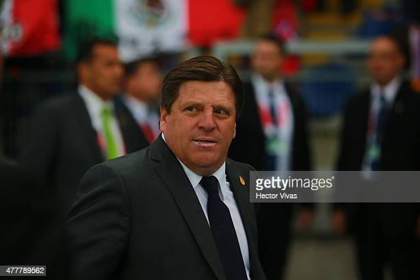 Miguel Herrera coach of Mexico looks on during the 2015 Copa America Chile Group A match between Mexico and Ecuador at El Teniente Stadium on June 19...