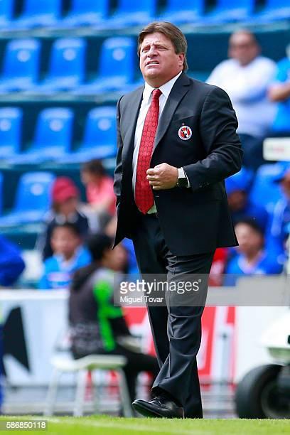 Miguel Herrera coach of Tijuana gestures during the 4th round match between Cruz Azul and Tijuana as part of the Torneo Apertura 2016 Liga MX at Azul...