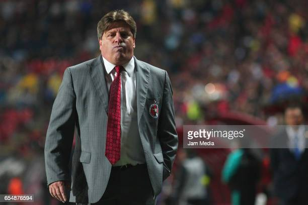 Miguel Herrera Coach of Tijuana is expelled from the game in the second half during the 11th round match between Tijuana and Monterrey as part of the...