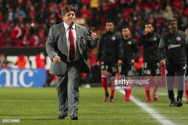 Miguel Herrera coach of Tijuana looks on at the end of the first half on the 6th round match between Tijuana and Necaxa as part of the Torneo...