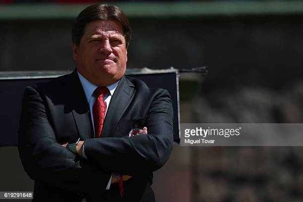 Miguel Herrera coach of Tijuana looks on during the 15th round match between Toluca and Tijuana as part of the Torneo Apertura 2016 Liga MX at...