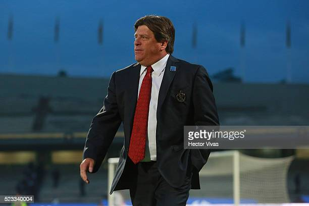 Miguel Herrera coach of Tijuana walks out the field during the 15th round match between Pumas UNAM and Tijuana as part of the Clausura 2016 Liga MX...