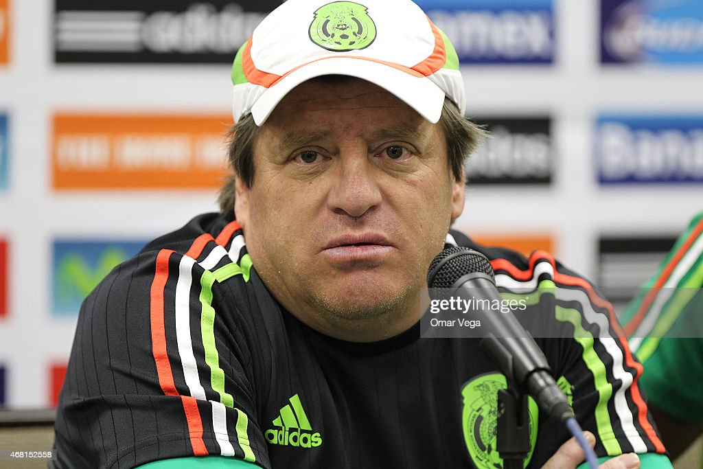 <a gi-track='captionPersonalityLinkClicked' href=/galleries/search?phrase=Miguel+Herrera+-+Soccer+Coach&family=editorial&specificpeople=12319687 ng-click='$event.stopPropagation()'>Miguel Herrera</a> head coach of Mexico attends a press conference at Arrowhead Stadium on March 30, 2015 in Kansas City, United States.