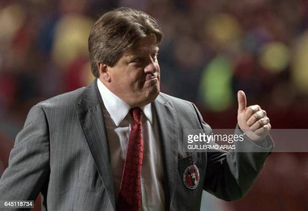 Miguel Herrera head coach of Tijuana reacts at the end of the first half against Monterrey during their Mexican Clausura 2017 Tournament football...