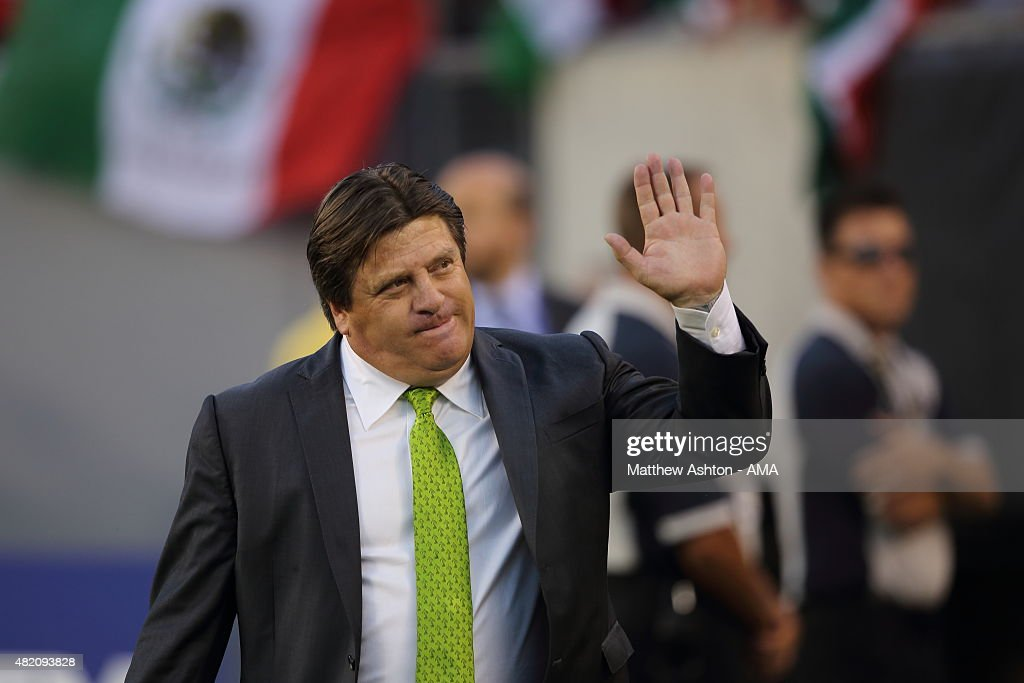 <a gi-track='captionPersonalityLinkClicked' href=/galleries/search?phrase=Miguel+Herrera+-+Soccer+Coach&family=editorial&specificpeople=12319687 ng-click='$event.stopPropagation()'>Miguel Herrera</a> the head coach / manager of Mexico during the 2015 CONCACAF Gold Cup Final match between Jamaica and Mexico at Lincoln Financial Field on July 26, 2015 in Philadelphia,Pennsylvania.