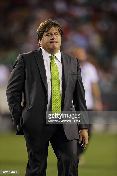 Miguel Herrera the head coach / manager of Mexico during the 2015 CONCACAF Gold Cup Final match between Jamaica and Mexico at Lincoln Financial Field...