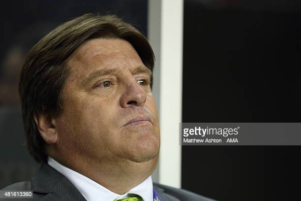 Miguel Herrera the head coach / manager of Mexico during the Gold Cup Semi Final between Panama and Mexico at Georgia Dome on July 22 2015 in Atlanta...