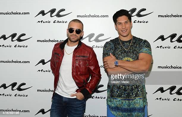 Miguel Ignacio Mendoza and Jess Alberto Miranda Perez of Pop duo 'Chino and Nacho' visit Music Choice on June 24 2015 in New York City