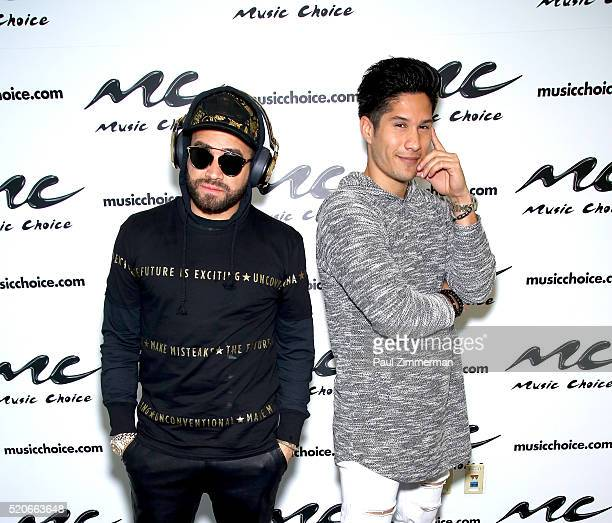 Miguel Ignacio Mendoza and Jesus Alberto Perez of Chino Y Nacho visit Music Choice at Music Choice Studios on April 12 2016 in New York City