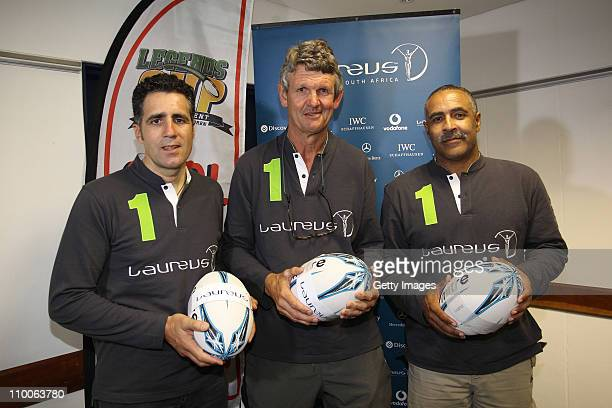 Miguel Indurain Morne du Plessis and Daley Thompson attend an event to name The Legends Cup Trust rugby project as the latest Laureusfunded project...