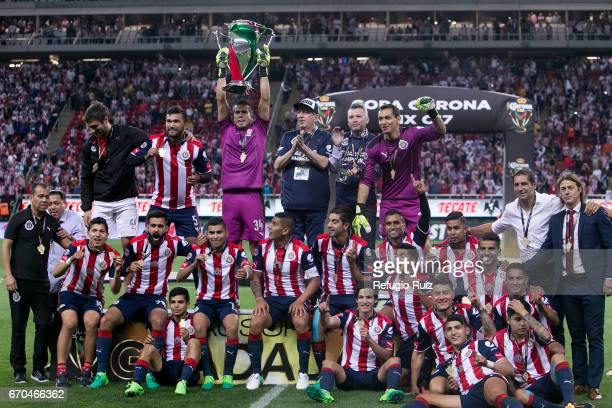 Miguel Jimenez of Chivas lifts the trophy after winning the final match between Chivas and Morelia as part of the Copa MX Clausura 2017 at Chivas...