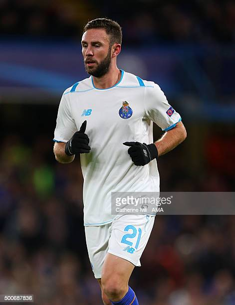 Miguel Layun of FC Porto during the UEFA Champions League match between Chelsea and FC Porto at Stamford Bridge on December 9 2015 in London United...