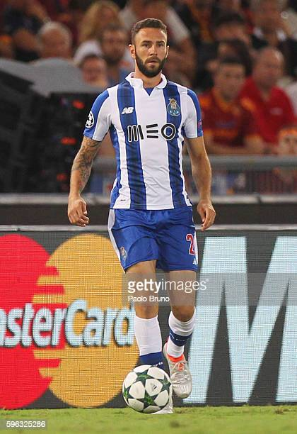 Miguel Layun of FC Porto in action during the UEFA Champions League qualifying playoff round second leg match between AS Roma and FC Porto at Stadio...