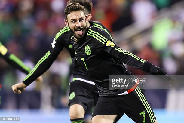 Miguel Layun of Mexico celebrates after scoring his team's first goal during the match between USA and Mexico as part of FIFA 2018 World Cup...