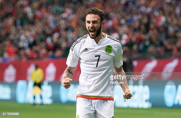 Miguel Layun of Mexico celebrates teammates Javier Herhandez's goal against Canda during FIFA 2018 World Cup Qualifier soccer action at BC Place on...