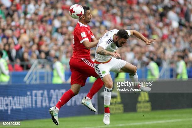 Miguel Layun of Mexico in action against Alexander Samedov of Russia during the FIFA Confederations Cup 2017 group A soccer match between Mexico and...