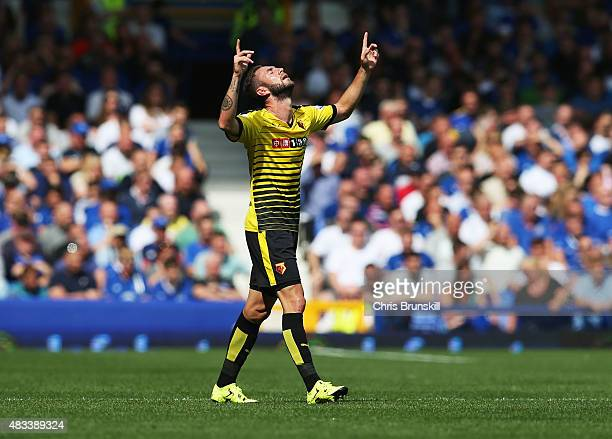 Miguel Layun of Watford celebrates scoring his team's first goal during the Barclays Premier League match between Everton and Watford at Goodison...