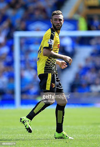 Miguel Layun of Watford during the Barclays Premier League match between Everton and Watford at Goodison Park on August 8 2015 in Liverpool England