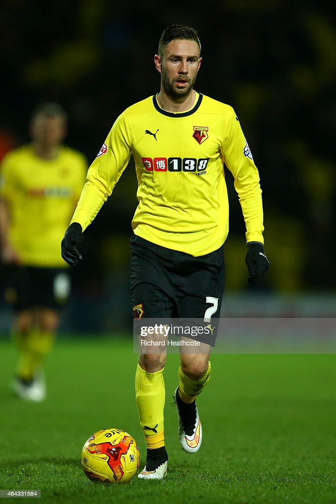 Miguel Layun of Watford in action during the Sky Bet Championship match between Watford and Rotherham United at Vicarage Road on February 24 2015 in...
