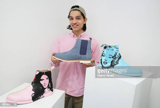 Miguel Lozano with some of Gambino Alliance's products The Chelsea boots depicting Kim Kardashian and Marilyn Monroe are a collaboration with artist...