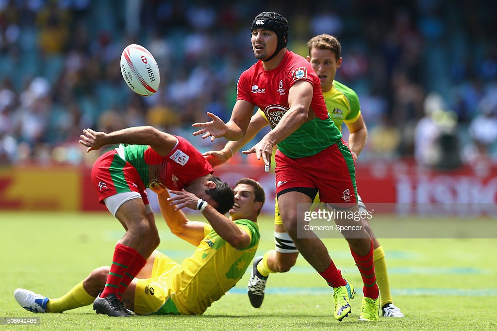 Miguel Lucas of Portugal passes during the 2016 Sydney Sevens match between Australia and Portugal at Allianz Stadium on February 6, 2016 in Sydney, Australia.