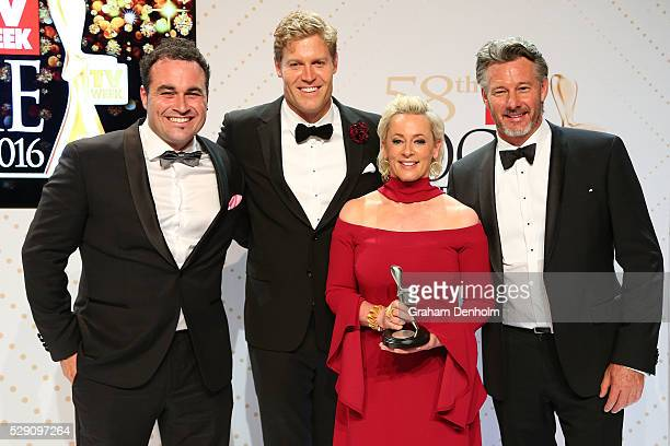 Miguel Maestre Chris Brown Amanda Keller and Barry Du Bois pose with the Logie Award for Best Lifestyle Program 'The Living Room' during the 58th...