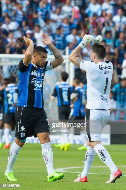 Miguel Martinez and Tiago Volpi of Queretaro celebrate during the 11th round match between Queretaro and Pachuca as part of the Torneo Clausura 2017...