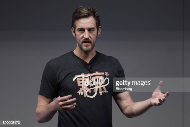 Miguel McKelvey cofounder and chief creative officer of WeWork Cos speaks at the SoftBank World 2017 event in Tokyo Japan on Friday July 21 2017...