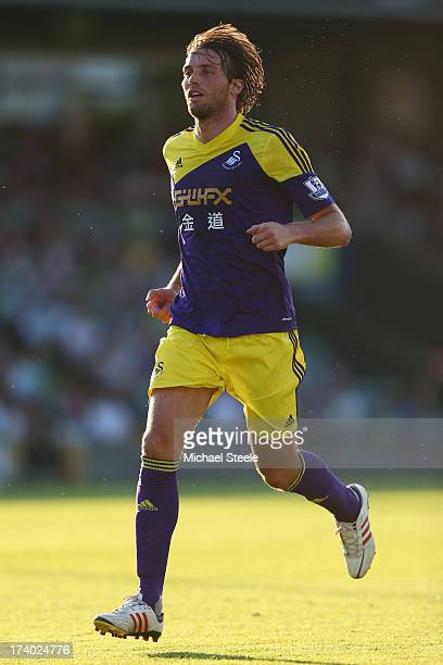 Miguel Michu of Swansea City during the Pre Season friendly match between Yeovil Town and Swansea City at Huish Park on July 19 2013 in Yeovil England