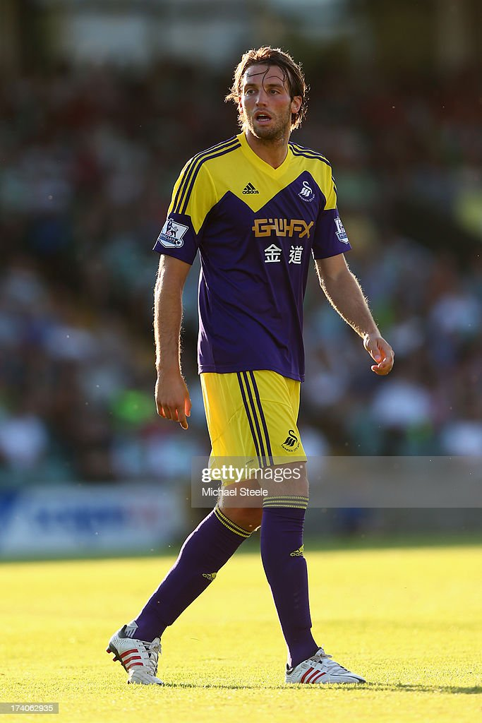 Miguel <a gi-track='captionPersonalityLinkClicked' href=/galleries/search?phrase=Michu+-+Voetballer&family=editorial&specificpeople=9691137 ng-click='$event.stopPropagation()'>Michu</a> of Swansea City during the Pre Season friendly match between Yeovil Town and Swansea City at Huish Park on July 19, 2013 in Yeovil, England.