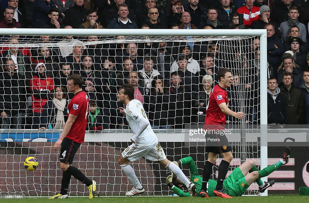 Miguel Michu of Swansea City scores their first goal during the Barclays Premier League match between Swansea City and Manchester United at Liberty Stadium on December 23, 2012 in Swansea, Wales.