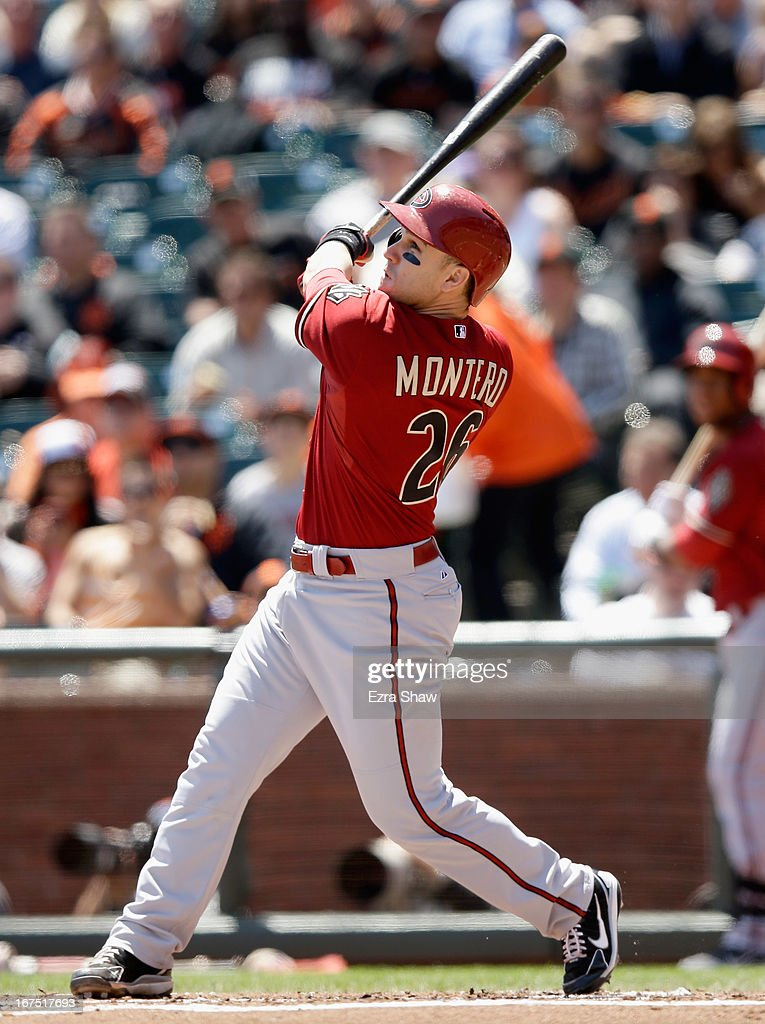 <a gi-track='captionPersonalityLinkClicked' href=/galleries/search?phrase=Miguel+Montero&family=editorial&specificpeople=836495 ng-click='$event.stopPropagation()'>Miguel Montero</a> #26 of the Arizona Diamondbacks bats against the San Francisco Giants at AT&T Park on April 24, 2013 in San Francisco, California.