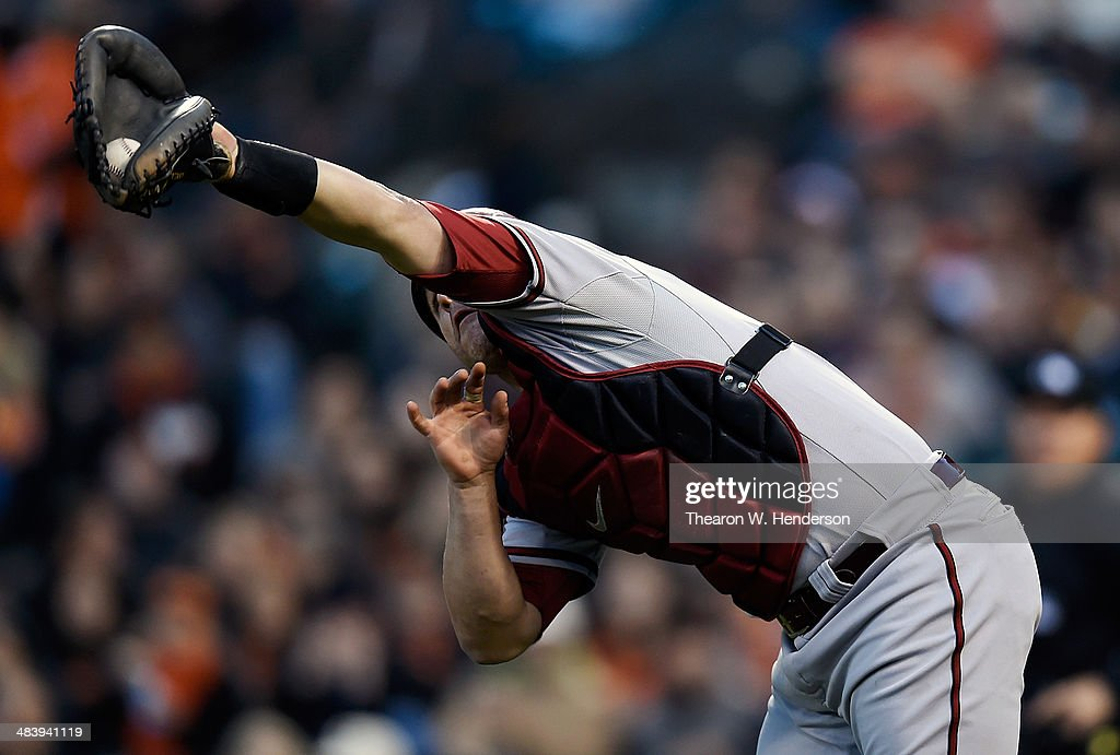 <a gi-track='captionPersonalityLinkClicked' href=/galleries/search?phrase=Miguel+Montero&family=editorial&specificpeople=836495 ng-click='$event.stopPropagation()'>Miguel Montero</a> #26 of the Arizona Diamondbacks catches a foul pop-up off the bat of Pablo Sandoval #48 of the San Francisco Giants (not pictured) in the bottom of the first inning at AT&T Park on April 10, 2014 in San Francisco, California.