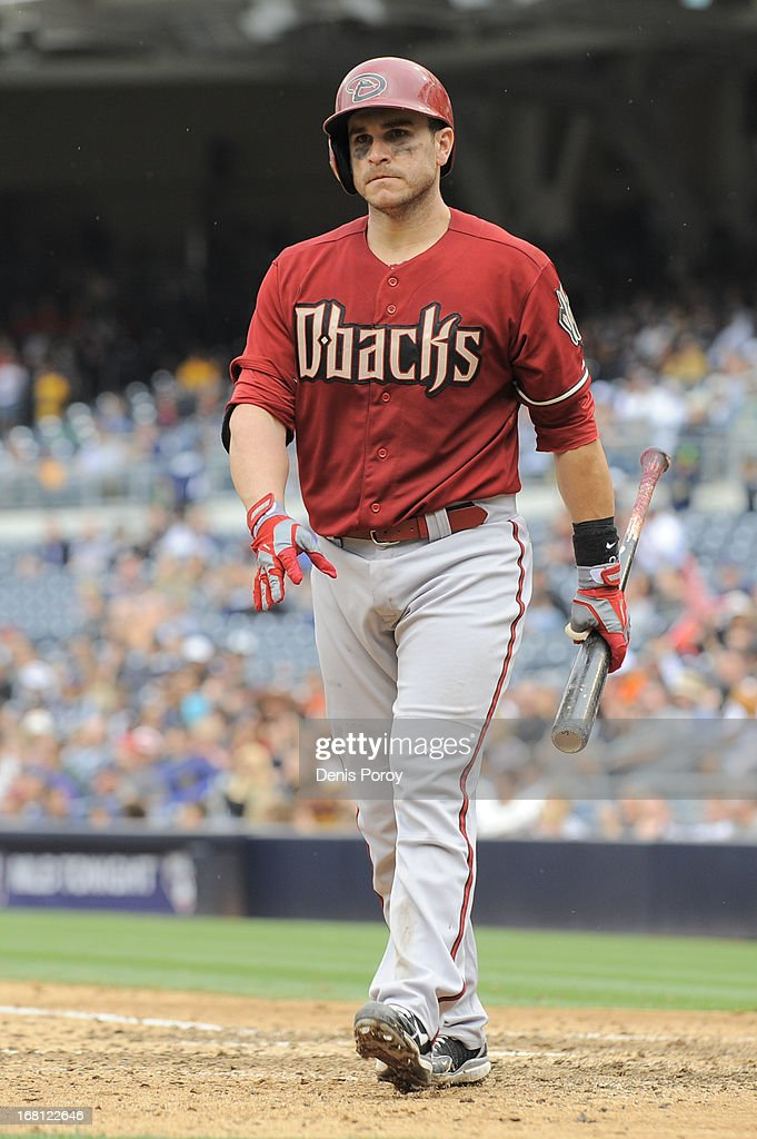 Miguel Montero #26 of the Arizona Diamondbacks walks off after striking out during the eighth inning of a baseball game against the San Diego Padres at Petco Park on May 5, 2013 in San Diego, California.