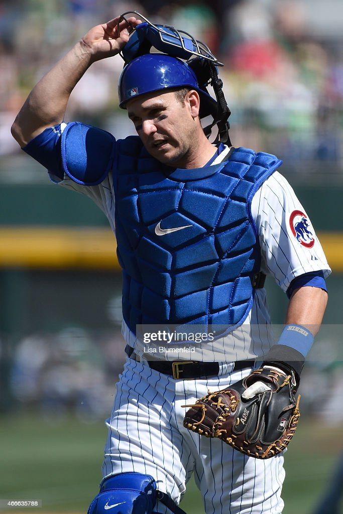 Miguel Montero of the Chicago Cubs plays catcher during the game against the Kansas City Royals on March 17 2015 in Mesa Arizona
