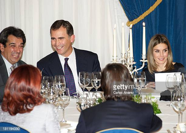 Miguel Mora Prince Felipe of Spain and Princess Letizia of Spain attend 'Francisco Cerecedo' journalism awards at the Ritz Hotel on November 2 2011...