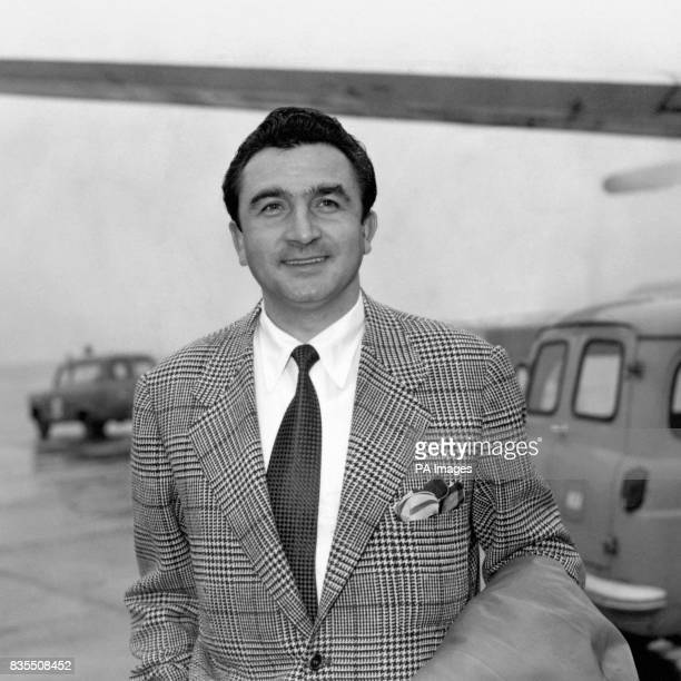 Miguel Munoz captain of Real Madrid arriving at Heathrow Airport for the European Cup semi final second leg against Manchester United