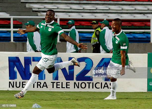 Miguel Murillo of Deportivo Cali celebrates a scored goal during a match between Deportivo Cali and Millonarios as part of 15th round of Liga...